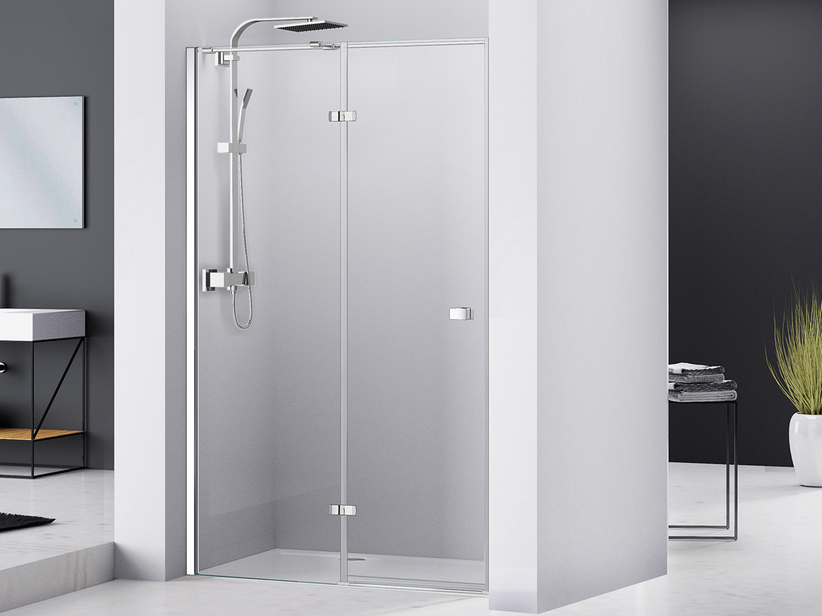 CHAKRA SHOWER HINGED DOOR PIVOT 100 H195 LEFT SIDE OPENING TRANSPARENT/CHROME
