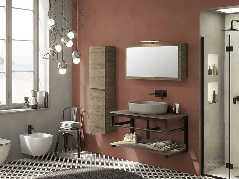 MOBILE BAGNO PURESTONE 100 NERO OPACO/SHERWOOD E TOP PER LAVABO ...