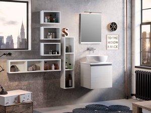 Mobile Bagno Smart 51 Cm Larice Bianco Con Top Per Lavabo Appoggio Iperceramica