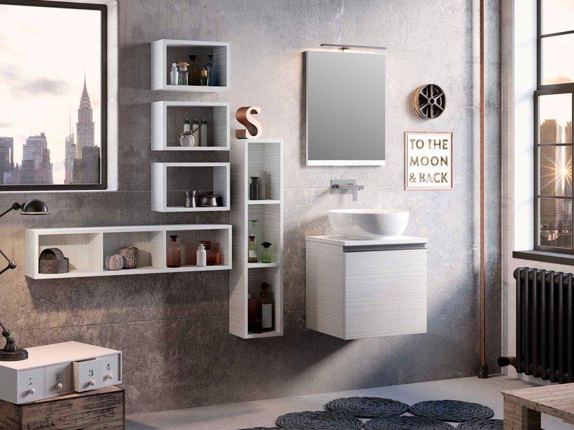 Mobile bagno smart cm larice bianco con top per lavabo appoggio