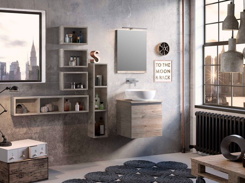 Mobile Bagno Smart 51 cm Natural Oak con Top per Lavabo Appoggio