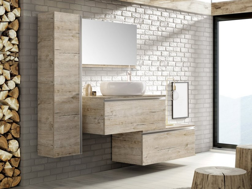 MOBILE BAGNO SMART 91 CM NATURAL OAK CON TOP PER LAVABO IN APPOGGIO