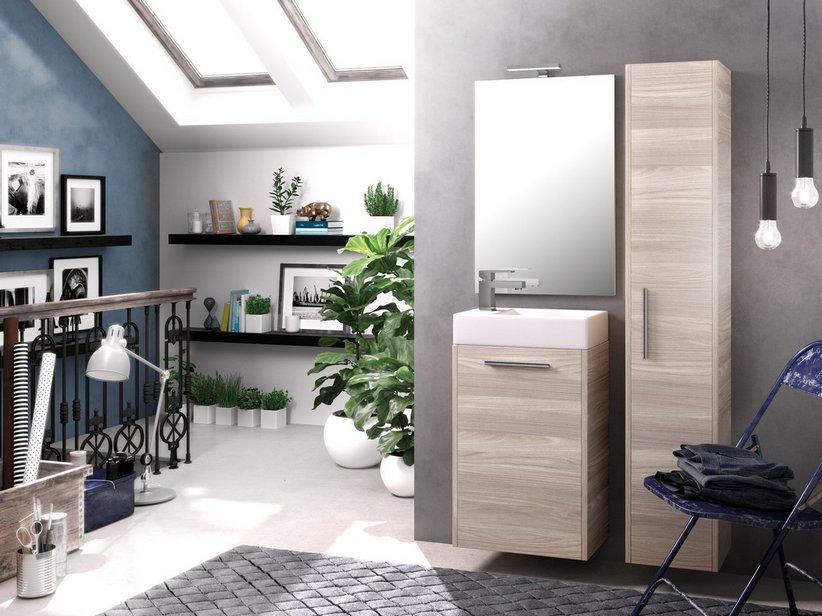 Mobile bagno salvaspazio smile cm larice grigio con lavabo