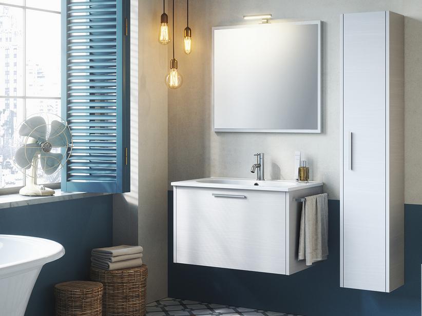 Mobiletti E Specchiere Bagno.Mobile Bagno Smile 75 Cm Bianco Valiant Con Lavabo Resina E