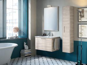 Mobile bagno smile cm larice avana con lavabo in resina