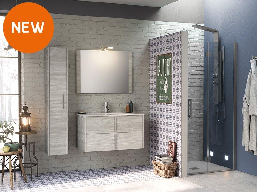 Mobile bagno smile 90 cm larice grigio con lavabo ceramica for Complementi d arredo per bagno