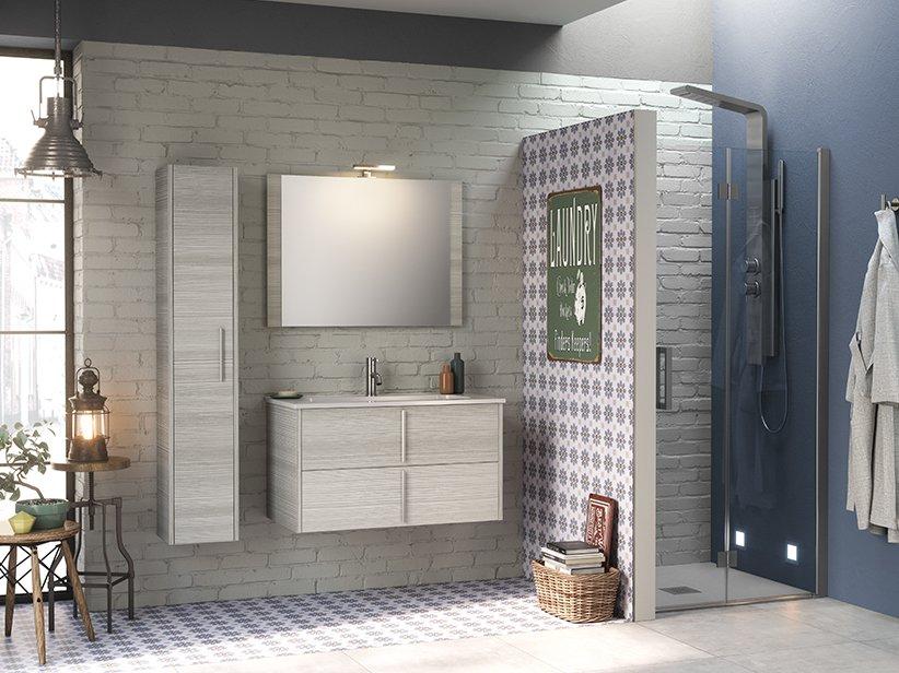 Mobile bagno smile cm larice grigio con lavabo in resina