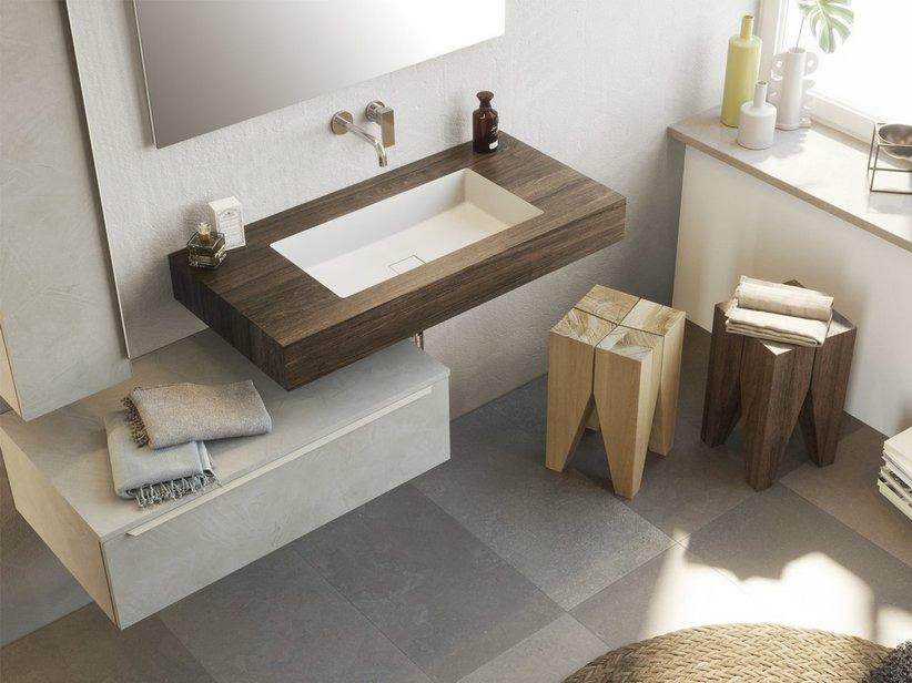 Mensola con Lavabo Bagno Integrato Topsy Unitop Cm. 100 Old Wood