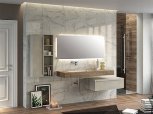 MOBILE BAGNO TOPSY TOP cm. 140 NATURAL OAK CON LAVABO INTEGRATO SINIST