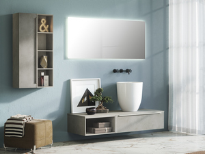 TRENDY BATHROOM FURNITURE 141 CM CEMENT WITH TOP