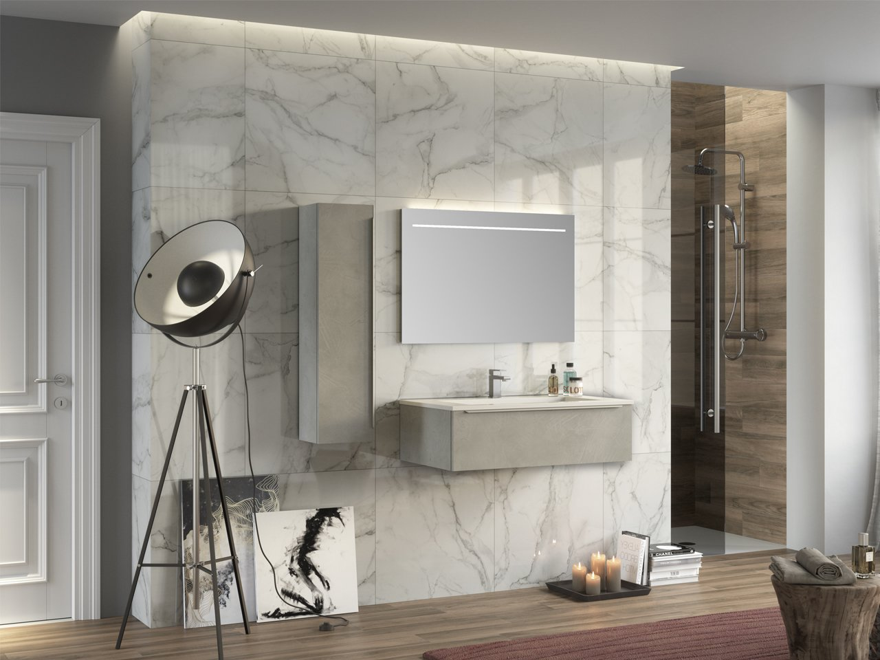 TRENDY BATHROOM FURNITURE 90 CM CEMENT AND GLOSSY WHITE ...
