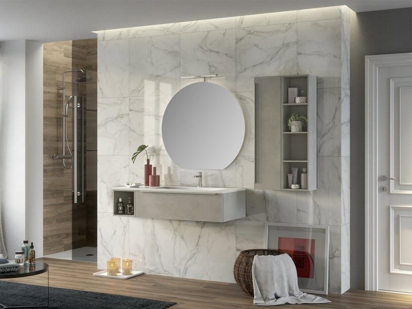 TRENDY BATHROOM FURNITURE 115 CM CEMENT AND RIGHT GLOSSY WHITE WASHBASIN