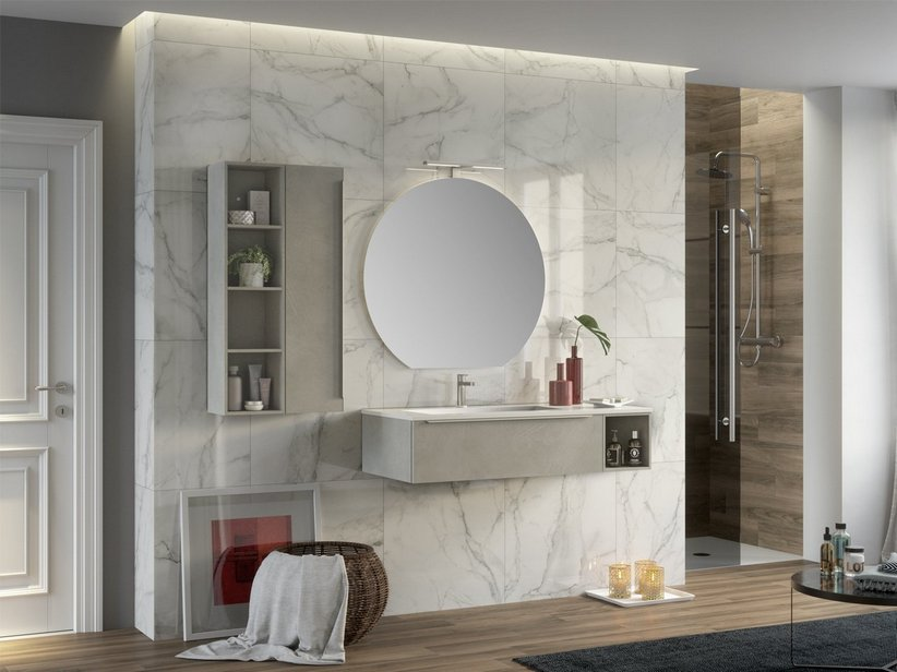 TRENDY BATHROOM FURNITURE 115 CM CEMENT AND LEFT GLOSSY WHITE WASHBASIN HIDE