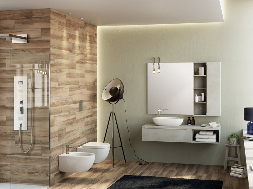 TRENDY BATHROOM FURNITURE 141 CM CEMENT WITH TOP FOR LEFT SIDE WASHBASIN