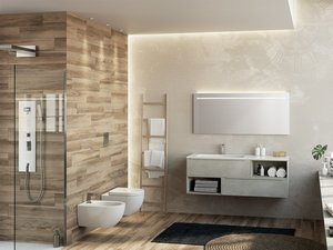 TRENDY BATHROOM FURNITURE 140 CM 2 DRAWERS AND LEFT GLOSSY WHITE WASHBASIN HIDE