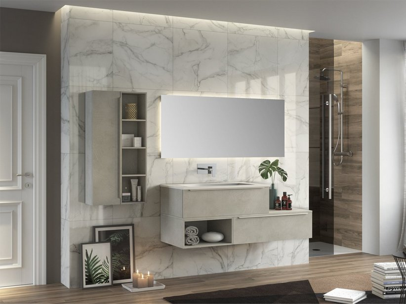 TRENDY BATHROOM FURNITURE 141 CM 2 DRAWERS AND LEFT GLOSSY WHITE WASHBASIN HIDE