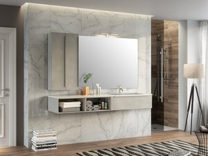 TRENDY BATHROOM FURNITURE 190 CM 1 DRAWER AND RIGHT WHITE MATT WASHBASIN