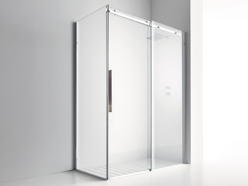 VELO 1 SLIDING DOOR SHOWER ENCLOSURE cm. 140x70 H200 TRASPARENTE/CROMO