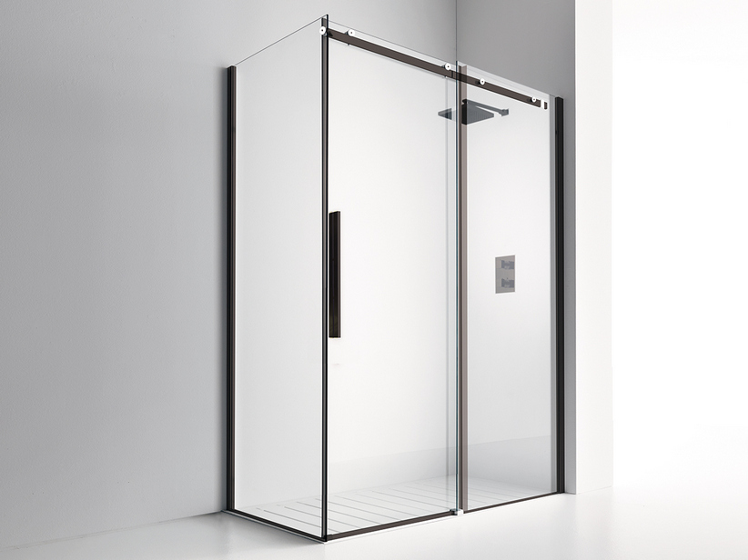 VELO SHOWER ENCLOSURE 1 SHOWER DOOR cm. 170x70 H200 TRANSPARENT/BLACK MATT