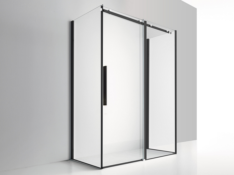 VELO SHOWER ENCLOSURE 3 SLIDING DOORS 120x80x80 H200 TRANSPARENT/BLACK MATT