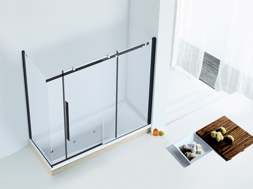 VELO BATH SCREEN 1 SHOWER DOOR cm 170x70 H150 TRANSPARENT/BLACK MATT
