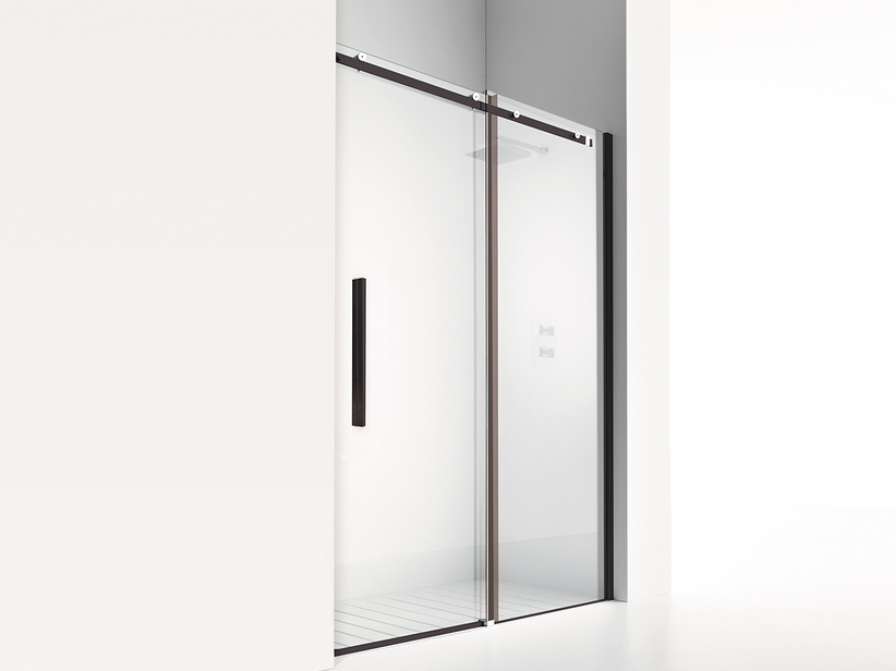 VELO PORTA DOCCIA 1 SHOWER DOOR cm. 170 H200 TRANSPARENT/BLACK MATT