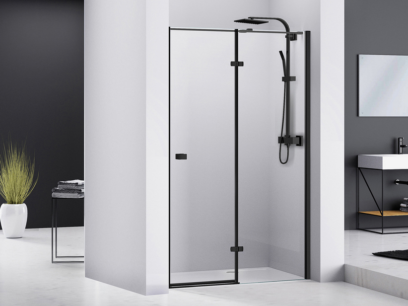 CHAKRA SHOWER HINGED DOOR PIVOT 120 H195 RIGHT SIDE OPENING TRANSPARENT/BLACK MATT
