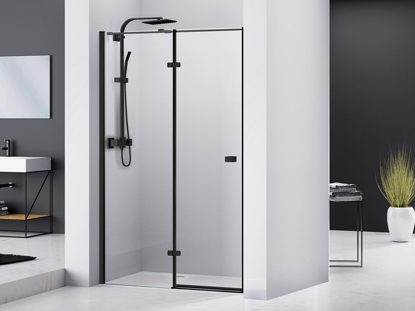CHAKRA SHOWER HINGED DOOR PIVOT 100 H195 LEFT SIDE OPENING TRANSPARENT/BLACK MATT
