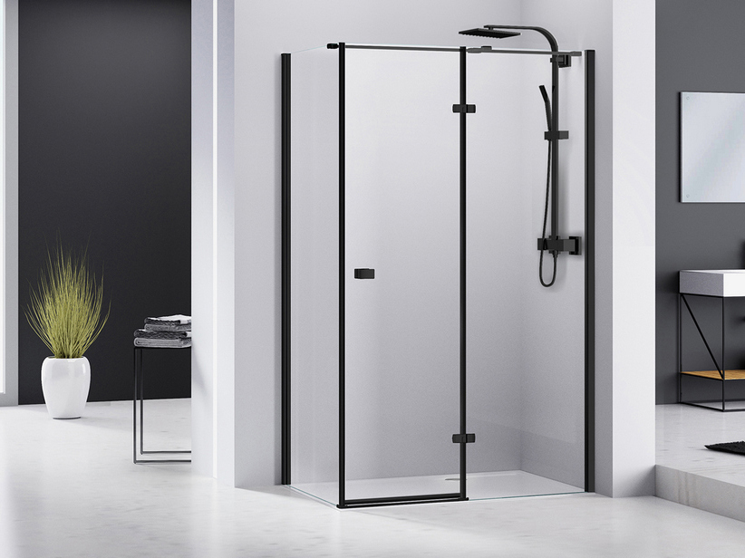 CHAKRA SHOWER BOX 90x80 H195 PIVOT HINGER DOOR RIGHT LATERAL OPENING WITH FIXED SIDE TRANSPARENT/BLACK MATT