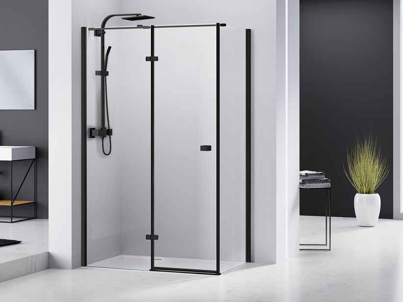CHAKRA SHOWER BOX 120x90 H195 PIVOT HINGER DOOR LEFT LATERAL OPENING WITH FIXED SIDE TRANSPARENT/BLACK MATT