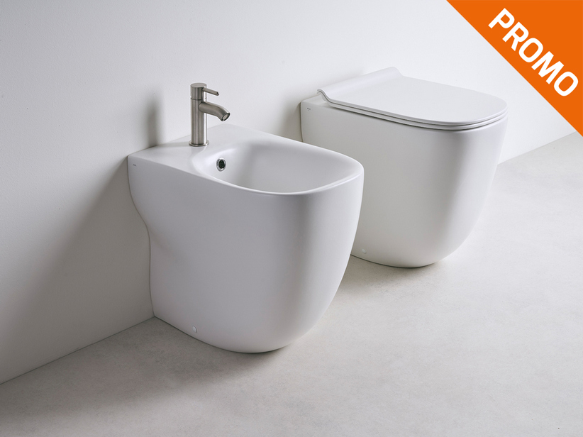 Wild Rimless floor-mounted sanitary ware white matt