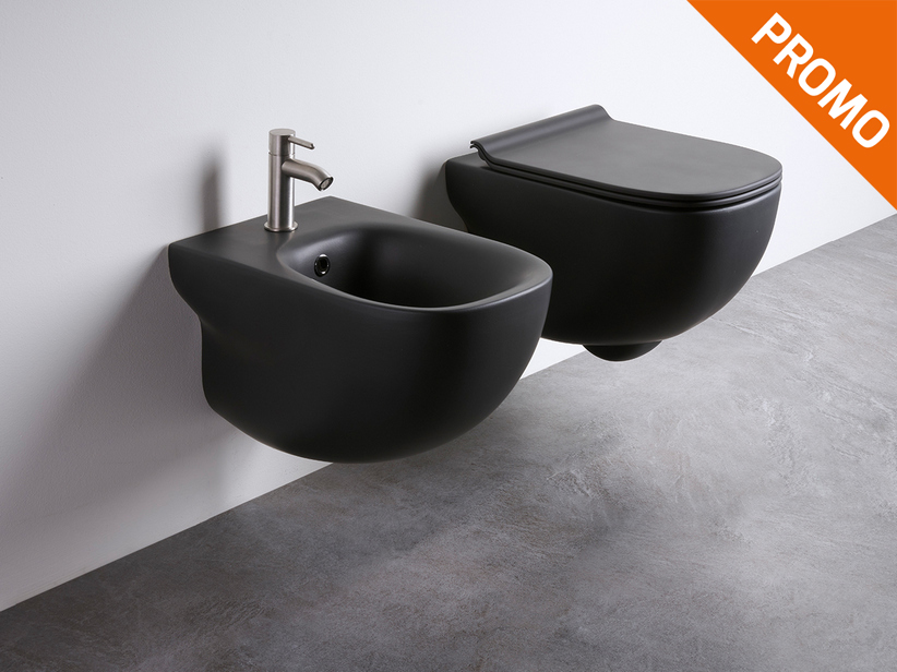 Wild Rimless wall-hung sanitary ware black matt