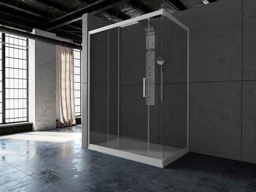 ZEN SHOWER ENCLOSURE 1 DOOR 90X170 TRASNPARENT WHITE MATT