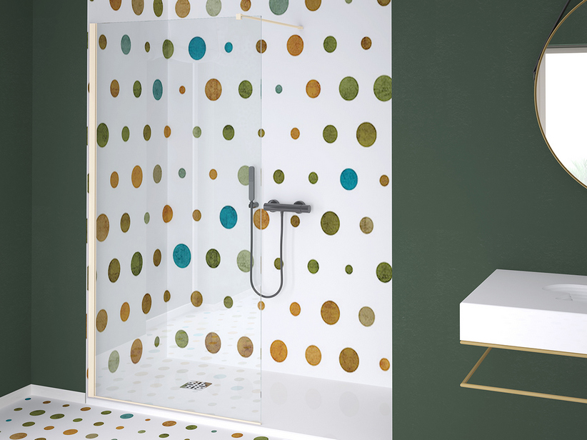 ZEN COLOR WALK IN SHOWER 126-128 CM H200 TRANSPARENT CHAMPAGNE