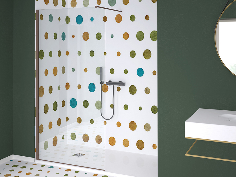 ZEN COLOR WALK IN SHOWER 138-140 CM H200 TRANSPARENT CHOCOLATE