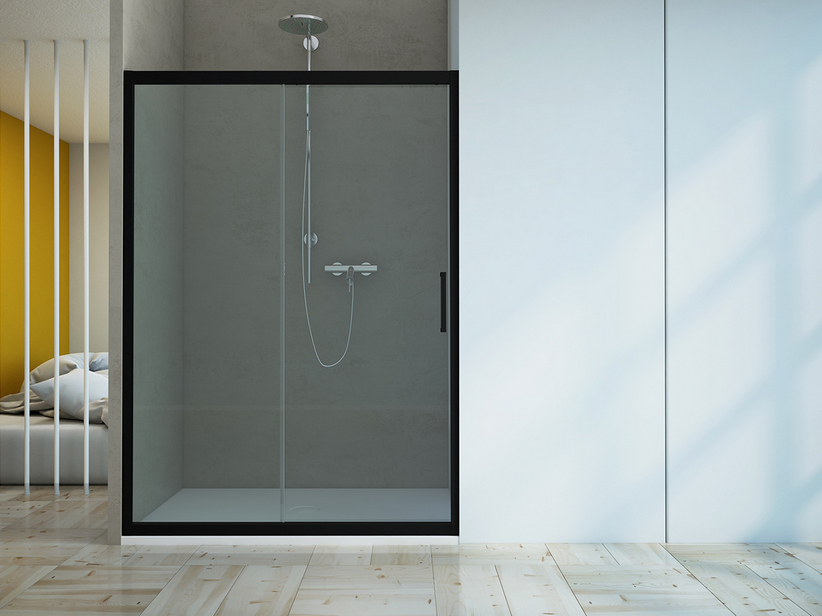 ZEN SLIDING DOOR cm. 120-110 H190 TRANSPARENT/BLACK MATT