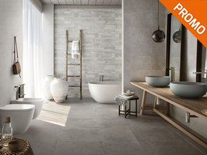 Stone effect bathroom floor and wall porcelain tile - Ever