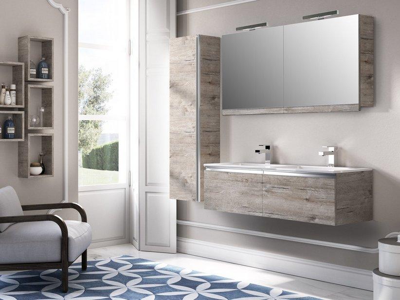 Mobile bagno smart 120 cm natural oak con doppio lavabo marmoresina