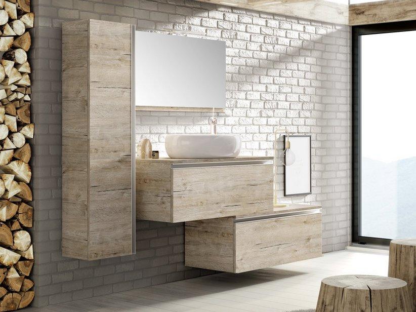 Mobile bagno smart 91 cm natural oak con top per lavabo in for Mobili design bagno